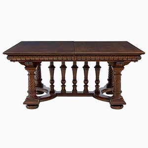 Tavolo da pranzo grande allungabile in quercia, XIX secolo