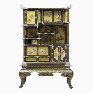 19th Century Japanese Black & Gold Lacquered Display Cabinet