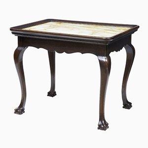 Mesa estilo Chippendale de roble y ónix del siglo XIX