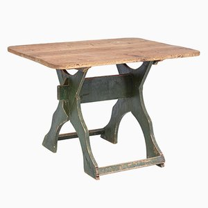 Antique Swedish Painted Pine Trestle Table
