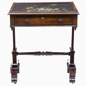 Tavolino Regency antico dipinto e in palissandro con ripiano in ardesia