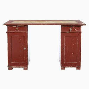 Antique Rustic Swedish Pedestal Desk