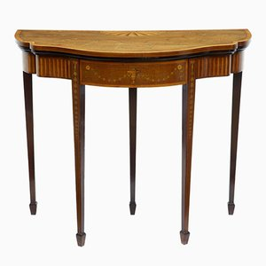 Antique Sheraton Revival Inlaid Mahogany Card Table