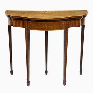 Table de Jeux Antique Sheraton Revival en Acajou Marqueté