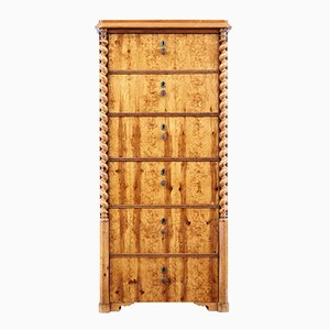 19th Century Swedish Burr Birch Tallboy Chest