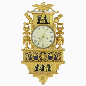 Antique Swedish Gilt & Eglomise Ornate Wall Clock