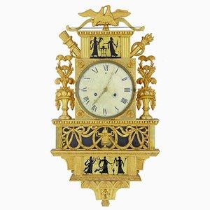 Orologio da parete vintage decorato in vetro èglomisé e dorato, Svezia