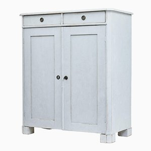Antique Swedish Painted Pine White Cupboard, 1870s