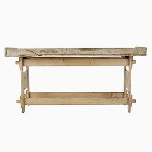 Mesa de trabajo de caballetes sueca antigua de pino