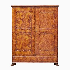 Antique Swedish Ragwork Pine Cupboard