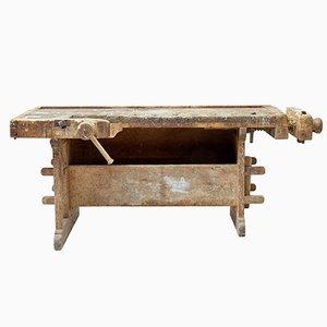 Banco de trabajo sueco rústico de pino del siglo XIX