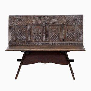 Panchina vittoriana in legno di quercia intagliato, XIX secolo