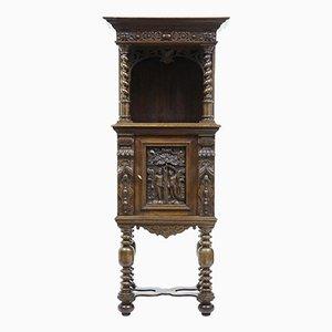 Mueble de recibidor victoriano de roble tallado