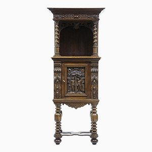 Victorian Carved Oak Hall Cupboard on Stand