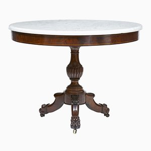 Antique Mahogany Marble Top Gueridon Table