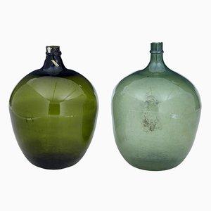 Large Antique Green Glass Distillery Bottles, Set of 2