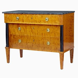 Golden Birch Chest of Drawers with Marble Top, 1960s