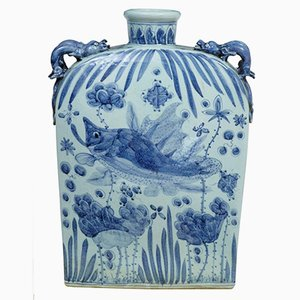 Blue & White Chinese Flask Vase, 1940s