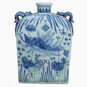 Vase Bleu et Blanc, Chine, 1940s