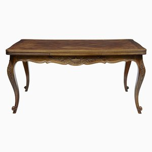 French Walnut Parquetry Extending Dining Table, 1910