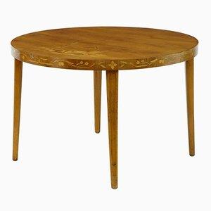 Tavolino di servizio Art Déco vintage in betulla intarsiata