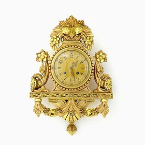 Vintage Swedish Gilt Carved Ornate Wall Clock By Westerstrand, 1940s