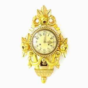 Vintage Swedish Gilt Carved Ornate Wall Clock from Franz Hermle and Sohn, 1940s