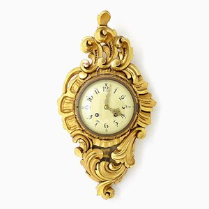 Mid-Century Swedish Gilt Carved Ornate Wall Clock, 1950s