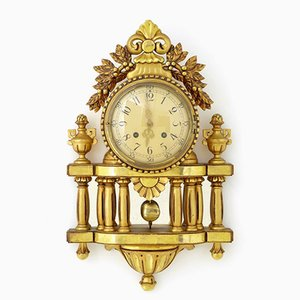 Swedish Gilt Carved Wood Ornate Wall Clock from Westerstrand, 1950s