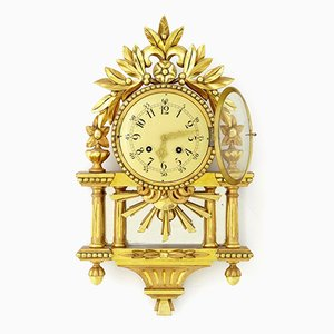 Swedish Gilt Carved Wood Wall Clock, 1940s