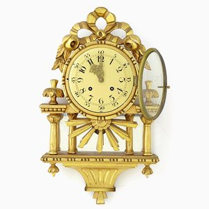 Mid-Century Swedish Gilt Carved Wood Wall Clock