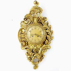 Antique Style Swedish Gilt & Carved Wood Wall Clock from Westerstrand, 1950s