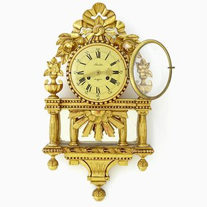 Swedish Ornate Gilt Wall Clock from Skandia of Stockholm, 1948