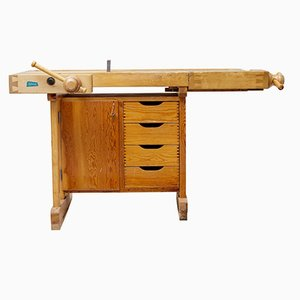 Vintage Swedish Pine School Work Bench from Ljobergs, 1950s