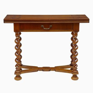 Vintage Walnut Flip Top Occasional Table, 1920s