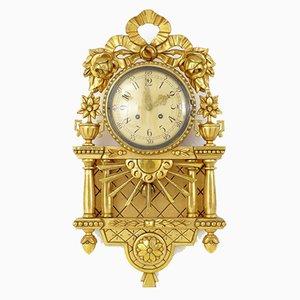 Reloj de pared Mid-Century dorado de Westerstrand Urfabrik AB