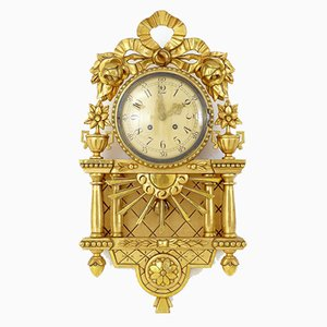 Mid-Century Gilt Wall Clock from Westerstrand Urfabrik AB