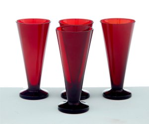 Scandinavian Red Glasses by Monica Bratt, 1950s, Set of 4