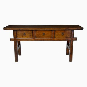 Antique Elm 3-Drawer Table