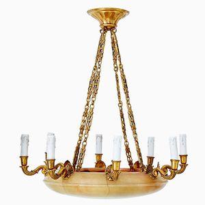 Lampadario Art Déco in alabastro e metallo dorato, anni '20