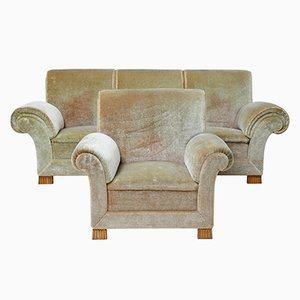 Art Deco Upholstered Armchair & Sofa, 1930s