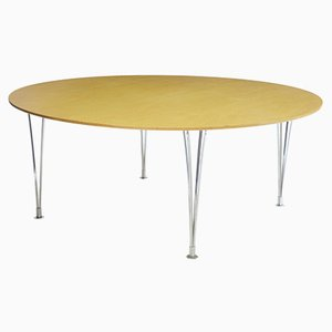 Vintage Birch Round Dining Table by Bruno Mathsson, 1980s