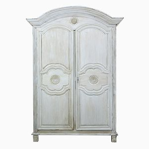 19th-Century French Carved Oak Painted Armoire