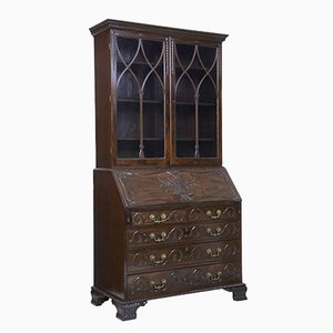 Antique Carved Mahogany Secretaire or Cupboard