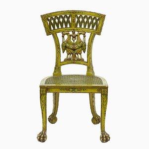 Antiker Biedermeier Stuhl aus Korbgeflecht