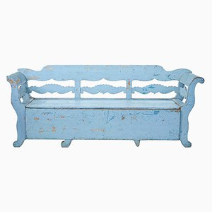 Large Antique Pine Bench with Storage