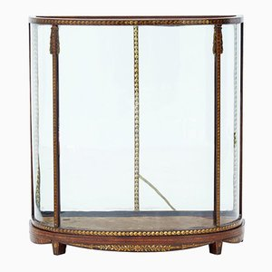 Antique Mahogany Display Case with Painted Decoration