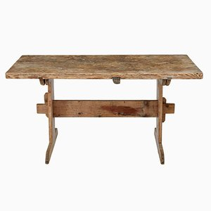 Antique Pine Trestle Dining Table