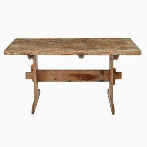 Table de Salle à Manger à Tréteaux Antique en Pin