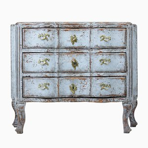 Antique Swedish Painted Serpentine Chest Of Drawers